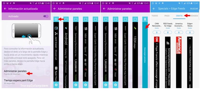 agregar paneles pantalla edge samsung